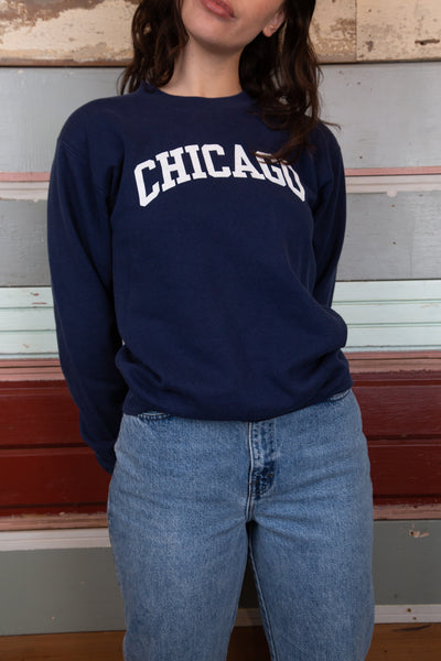 Navy Chicago sweater. vintage clothing at magichollow