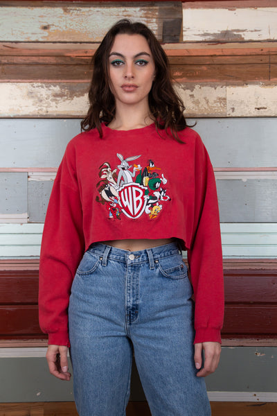 model is wearing a red cropped sweater, that features all the friendly faces of the Loony Tunes