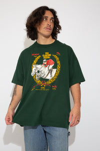 dark green oversized tee with horse racing graphic on front