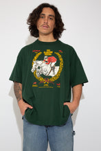 Load image into Gallery viewer, dark green oversized tee with horse racing graphic on front