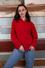 Load image into Gallery viewer, model is wearing a red zip up hooded sweater with a small embroidered Ralph Lauren logo which is blue logo