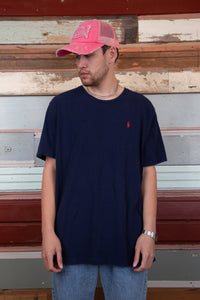 navy tee with red ralph lauren logo embroidered on left chest