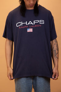 "navy blue tee with ""Chaps Ralph Lauren"" logo/graphic on the front"