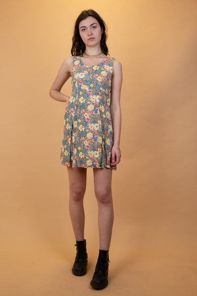 floral summer dress in green, red,yellow and blue