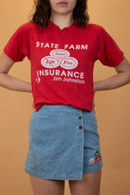 "Load image into Gallery viewer, red tee with ""state farm insurance"" graphic on the front in white."
