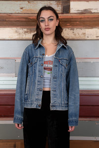 Model wearing Levis jacket, magichollow