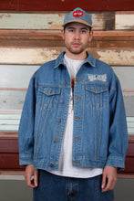 Load image into Gallery viewer, mid/dark-wash denim jacket with embroidered mickey patch detailing on back and left chest
