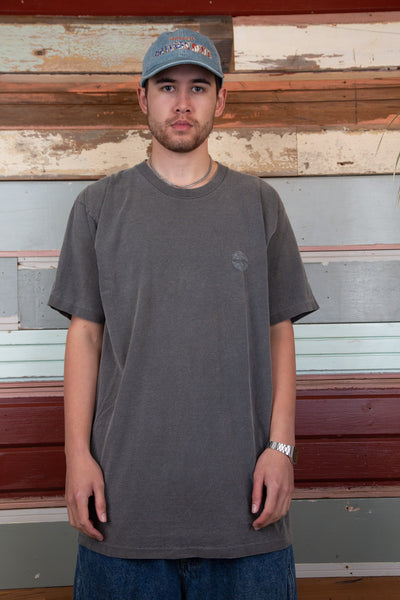 faded grey tall-fit tee with pepsi logo on left chest and across back