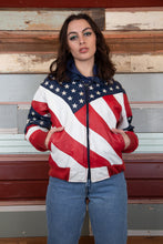 Load image into Gallery viewer, Model wearing american flag leather jacket, magichollow