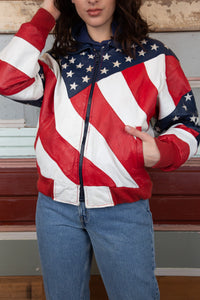 Model wearing american flag leather jacket, magichollow
