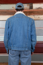 Load image into Gallery viewer, mid-wash denim sherpa jacket with soft white interior
