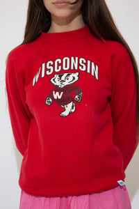 Red in colour with a large print of the university's mascot, Bucky Badger, on the front and a 'Wisconsin' capitalised spell-out above