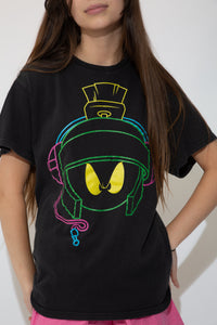 Black in colour with a large print of Marvin the Martian's face on the front in green, blue, pink and yellow.