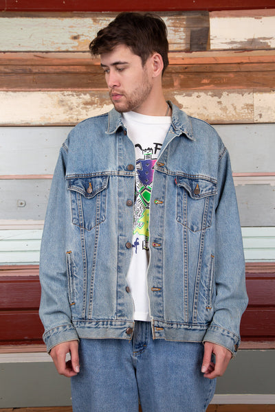 mid-wash levis denim jacket