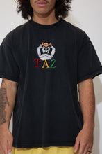 Load image into Gallery viewer, taz embroidered graphic tee in black. 90s vintage. magihocllow!