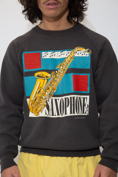 thick saxophone sweater in black. 90s vintage. magichollow.