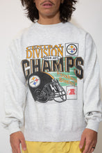 Load image into Gallery viewer, pittsburgh steelers sweater in a grey colour-way. 90s vintage. magichollow.