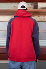 Load image into Gallery viewer, red hoodie with contrasting navy/indigo sleeves and large bulldog applique graphic on chest and small embroidered nike tick above