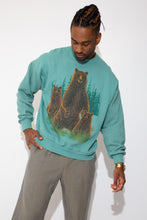 Load image into Gallery viewer, soft teal sweater in boxy fit with bear graphic on front