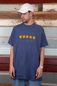 faded navy tall fit tee with embroidered el paso text and sun graphics on chest