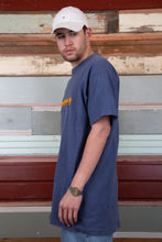 Load image into Gallery viewer, faded navy tall fit tee with embroidered el paso text and sun graphics on chest