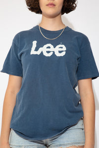 Navy blue short sleeved tee with white 'LEE' printed across the front.