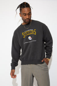 faded black crew with embroidered steelers spell-out and logo detailing