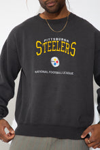 Load image into Gallery viewer, faded black crew with embroidered steelers spell-out and logo detailing