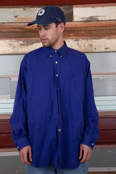 deep purple button up in blake style by ralph lauren with embroidered emblem on left chest