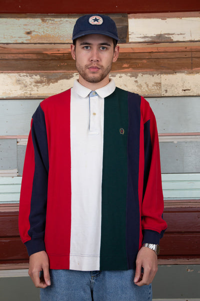 funky multicoloured striped polo with embroidered tommy crest on left chest