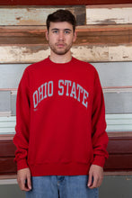 Load image into Gallery viewer, red boxy crew with silver ohio state spell-out across chest
