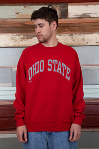 red boxy crew with silver ohio state spell-out across chest