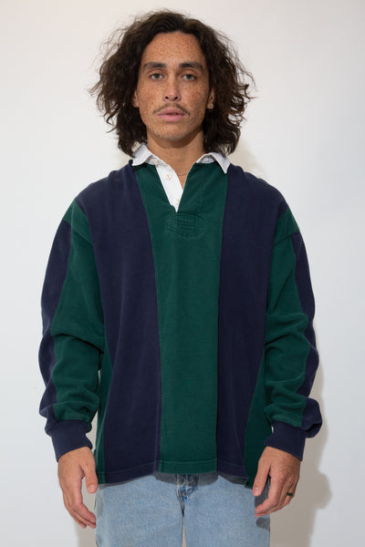 green and navy rugby jersey. 90s vintage. magichollow.