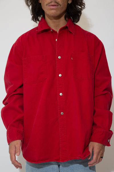 Levi's button tp shirt in a red colour-way. magichollow. 90s vintage.