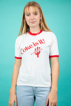 Load image into Gallery viewer, white ringer tee with red detailing and 'coke is it' spell-out across chest - vintage - magichollow