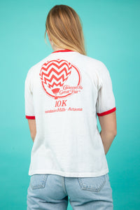 white ringer tee with red detailing and 'coke is it' spell-out across chest - vintage - magichollow