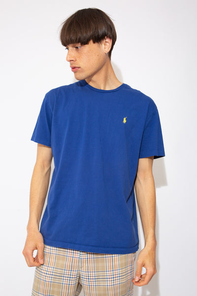 vibrant blue tee with yellow ralph lauren embroidered logo on left chest