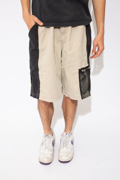 y2k beige and black panelled shorts with mesh pockets