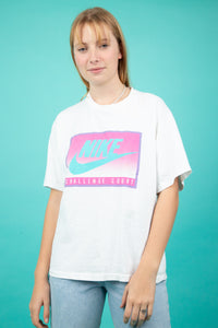 white vintage nike grey tag tee with cute pink nike graphic on front