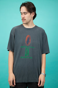 faded single-stitch tee with 'gimme da rock' spell-out and squashed basketball graphic on front - vintage - magichollow