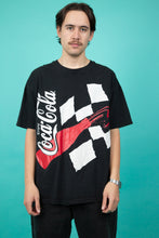 Load image into Gallery viewer, black tee with large front and back NASCAR coca-cola graphics. magichollow