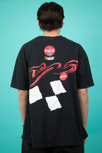 black tee with large front and back NASCAR coca-cola graphics. magichollow