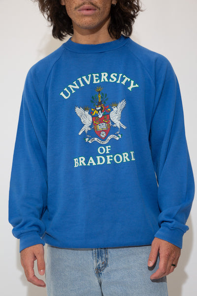 bradford university  sweater in a blue colour-way. 90s vintage. magichollow.