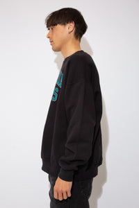 black crewneck with teal and silver 'philadelphia eagles' spell-out across chest