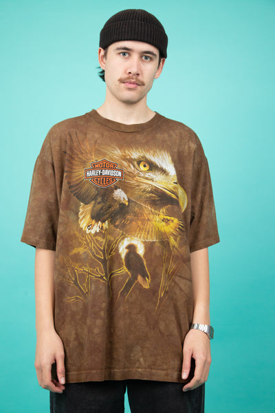 brown tie-dye vintage harley tee with eagle graphic - magichollow