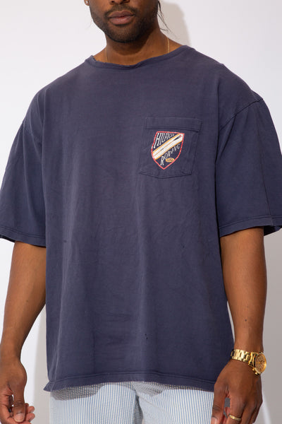 faded navy boxy fit tee with large hilfiger rowing spell-out graphic across back and smaller graphic on left chest pocket