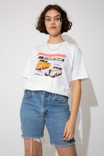 Load image into Gallery viewer, This '91 Slowpokes single-stitch tee has a sick spellout of '91 Rod Run across the front and prints of Chevys. On the back, Midwest Street Rods printed across with colourful cars and the address of the Rod Store.