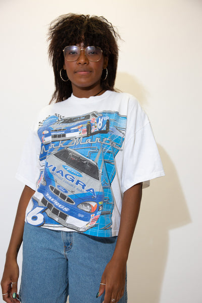 On the front, a large car print with a Mark Martin spell-out across the front, repping Viagra. On the back, a large number 6 with Martins signature. Pair with ripped jeans and Jordans for a sick fit!