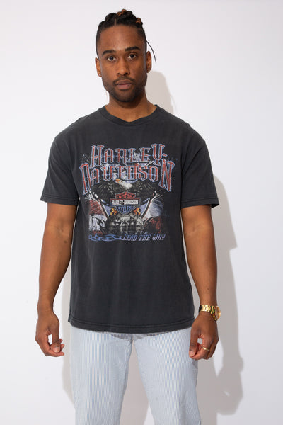 faded black harley tee with front and back graphic - magichollow