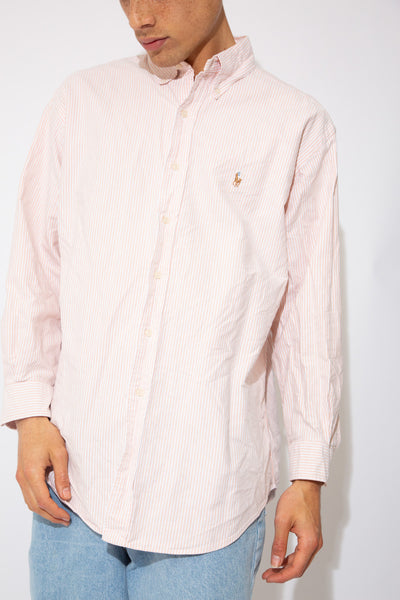 pinky/orange and white striped button up with embroidered ralph emblem on left chest
